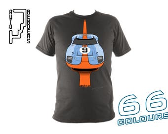 Ford GT40 Le Mans 1968 & 1969 T-Shirt by AutoRenders in 66 Colours - Sizes S/M/L/XL/2XL Unisex Tee - Mk1 Gulf Pedro Rodriguez Jacky Ickx