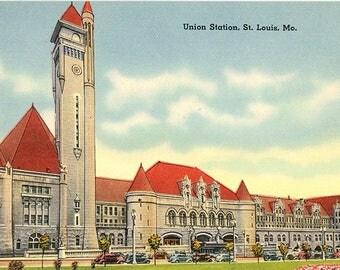 Union Station St. Louis Missouri Vintage Postcard 1930s (unused)