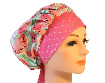Scrub Cap Surgical Hat Chef   Dentist Hat Tie Back Bouffant Pink Watermelon 2nd Item Ships FREE