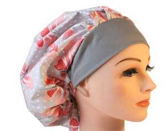 Medical Cap Surgical Hat Chef     Hat Bouffant  Soft Grey with Peach Butterflies 2nd Item Ships FREE