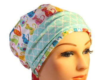 Scrub Hat Cap Chemo Bad Hair Day Hat  European BOHO Banded Pixie Tie Back Calico Cats Mint Band 2nd Item Ships FREE