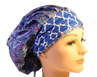 Scrub Cap Surgical Medical Chemo Chef Vet Doctor Nurse Hat Banded Bouffant Tie Back Purple Paisley Blue Quaterfoil 2nd Item Ships FREE