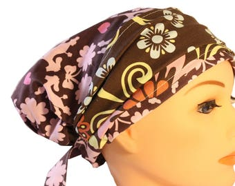 Scrub Hat Cap Chemo Bad Hair Day  European BOHO Banded Pixie Tie Back Pink Poodles Dogs Brown Floral Band  2nd Item Ships FREE