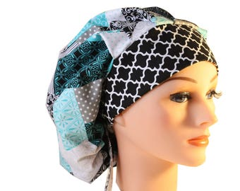 Medical Scrub Cap Surgical Hat Chemo Chef Nurse SATIN LINED Dentist Hat Tie Back Bouffant Blue Teal Patchwork Grey2nd Item Ships FREE