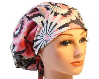 Scrub Cap Surgical Hat Chef   Dentist Hat Tie Back Bouffant Pink Grey Flower Shower 2nd Item Ships FREE