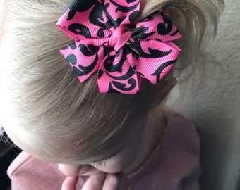 Pink Damask Pinwheel Bow
