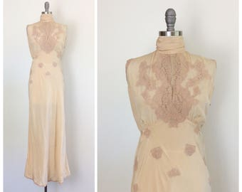 40s Peachy Pastel Silk & Lace Slip / 1940s Vintage Boudoir Floor Length Night Gown / Large / Size 12