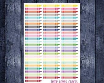Multicolor Crayon Stickers