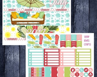 On Sale July Summer Monthly Stickers for New Erin Condren Life Planner