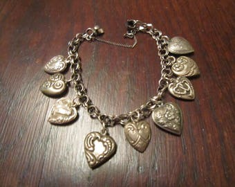 Danecraft Sterling Charm Bracelet and  9 Sterling Charms