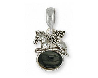 Horse Charm Slide Jewelry Sterling Silver Handmade Horse Charm Slide EQ10-AOXPNS