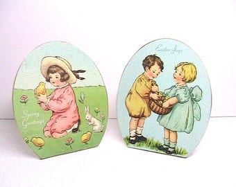 Easter, Vintage Easter Decor, Easter Plaques, Bethany Lowe Designs, Set of 2