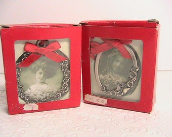Photo Frames, Papel Victorian Miniature Silver Picture Frames, Set of 2, NOS in Box, + 1 Heart Frame