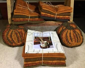 "Rug Hooking Kit,Pumpkin Mug Rugs  5"" x 5.5""  K136"