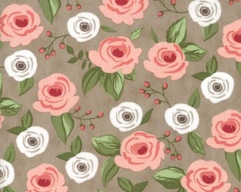 Farmers Daughter Fabric Painted Bouquet Floral in Taupe by Vanessa Goertzen of Lella Boutique for Moda Fabrics