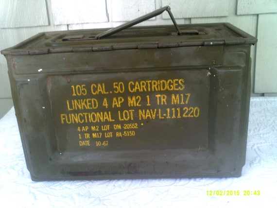 Vintage Military Metal Ammo Box 105 Cal 1967 Ammunition Box Handled Ammo Box Metal Storage Box & Vintage Military Metal Ammo Box 105 Cal 1967 Ammunition Box Aboutintivar.Com