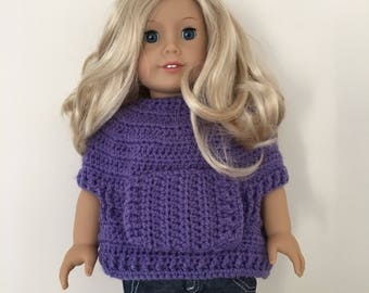"18 inch doll sweater with front pocket! Lovely soft cream yarn. Fits 18""dolls such as American Girl"