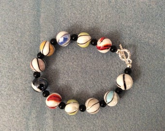 Multi colored glass beaded bracelet