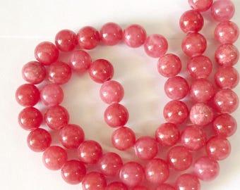 Pink gemstone 50 beads 9 mm raspberry pink jade semi precious stone jewelry necklace bracelet making to create jewelry
