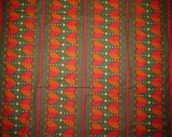 Fabric - Table Cloth - Sweden - Scandinavian - Christmas - Hearts - Retro - 70s