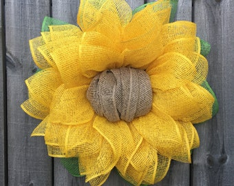 Sunflower Wreath, Sunflower Burlap Wreath, Burlap Sunflower Wreath, Spring Wreath, Sunflower Decor, Mother's Day Gift, Front Door Wreaths