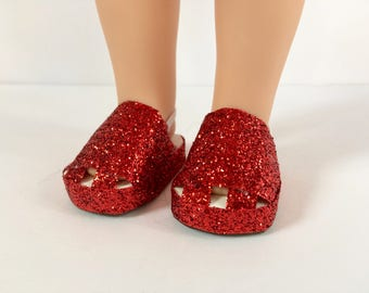 Red glitter doll shoes. Made to fit the American Girl Wellie Wisher dolls. 14 inch doll shoes. Birthday gift.