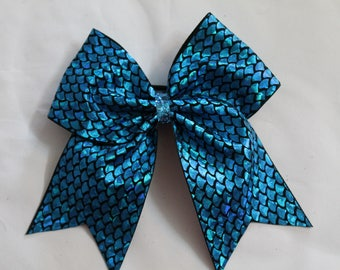 Cheer bow Teal Blue Fish Scales