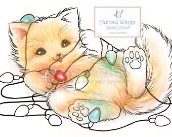 Digital Stamp - Christmas Light Kitty - Cat Playing with String Lights - Holiday Animal Line Art for Cards & Crafts by Mitzi Sato-Wiuff