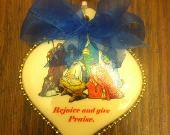 """Religeous """"Rejoice and give Praise"""" Christmas ornament"""