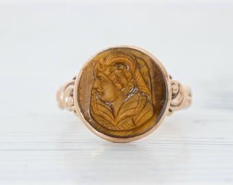 Antique Victorian Ring | Tigers Eye Ring | Antique Cameo Ring | Signet Ring | 10k Rose Gold Ring | Mens Pinky Ring | Boho Ring | Size 7.75