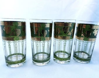 Golden Grapes Green by Cera Glass, Highball Glasses, set of 4, green and gold tumblers, retro, vintage bar ware