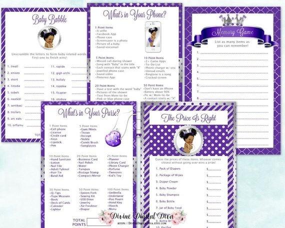 Baby Shower Games Package African American Princess Purple