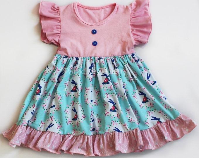 Featured listing image: Easter Dress Girls Clothing Easter Bunny Claire Dress Easter Bunny Print Little Girls Soft Cotton Blue Pink Spring Dress Blue Bunny Flower