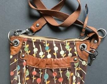 Vintage FOSSIL Canvas and Genuine Leather Multicolor Shoulder/Crossbody Bag