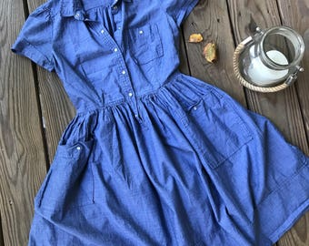 Vintage French Connection Dress/ Chambray Day Dress/ Size XS