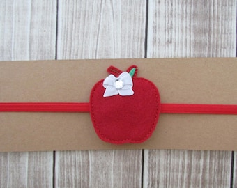 Apple Headband, School Headband, Girls Headband, Felt Headband, Elastic Headband, Toddler Headband, Infant Headband