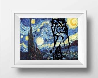 Starry Night Print, John Lennon and Yoko Ono art print