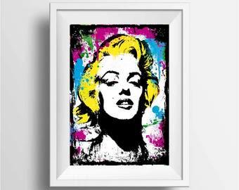 Marilyn Monroe art print, Graffiti and modern art print