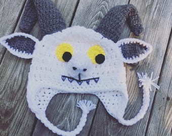 Where the wild things are, Inspired hat, GOAT, monster, WILD THINGS, crochet hat, Costume, Photography prop, Halloween, Birthday Gift