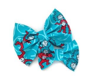Thing 1 Thing 2 Dr Seuss Bow | Fabric Bow | Handmade Hair Bow | Hair Clip | Headband