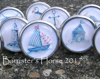 NAUTICAL, COASTAL, 40mm Drawer Knobs, Cabinet Pulls, Furniture Handles, Silver,