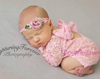 Newborn girl photo outfit lace bodysuit photo props pink lace romper baby photography lace photo outfit baby girl open back long sleeve
