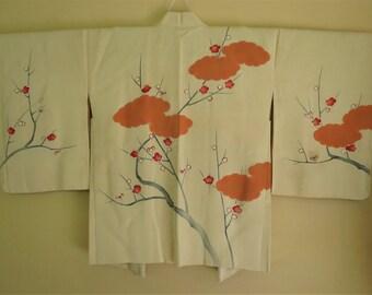 HAORI FINE Silk Vintage Japanese Haori HandPainted Gold-Edged Umi Plum Flower Branch Silk Japanese Haori Elegant Silk Japanese Kimono Jacket