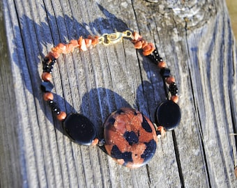 Black and Goldstone Bracelet