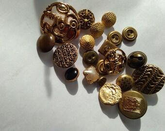 lot 20PCS antique french Vintage solid bronze gold gilt clothes button signed Paris Numbered France Paris