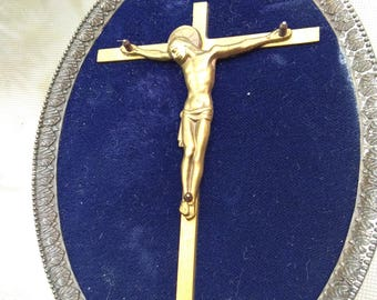 French antique Art deco solid bronze reliquary crucifix ornate bronze frame sapphire blue velvet crucifix religious cross