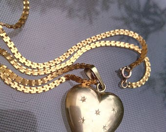 old 18k gold vermeil  heart shape pendant engraveds star large gold chain necklace tank chain pendant