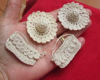 Lot Of Vintage  Crocheted Doll Hats & Purses