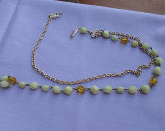 Vintage Broken Western Germany Linked Beaded Aluminum Chain Necklace