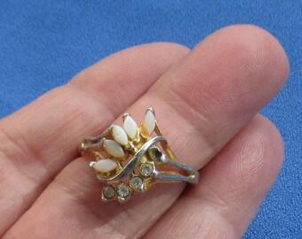 Vintage Faux Opal Rhinestone Cocktail Ring Missing Rhinestone TLC